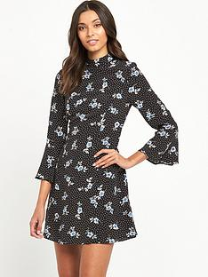 miss-selfridge-high-neck-floral-dress-black