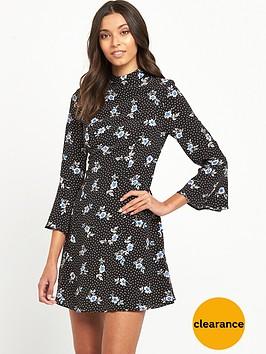 miss-selfridge-high-neck-floral-dress-black