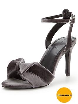 warehouse-velvet-bow-sandal-silver