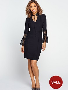 myleene-klass-pencil-dress-with-lace-fluted-sleeve-black