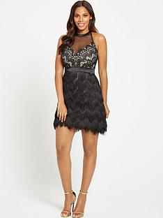 rochelle-humes-lace-and-fringe-dress-black