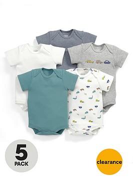 mamas-papas-baby-boys-car-bodysuits-5-pack