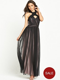 little-mistress-two-tone-cross-neck-maxi-dress-blackmink