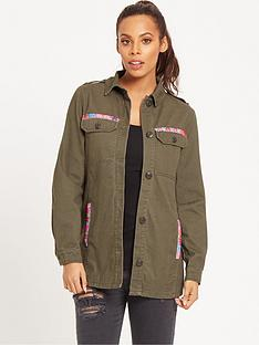 rochelle-humes-embroidered-military-jacket-khaki