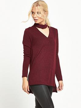 ax-paris-choker-neck-dip-back-hem-knit