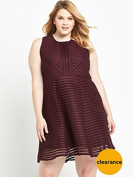ax-paris-curve-ladder-fabric-skater-dress-wine