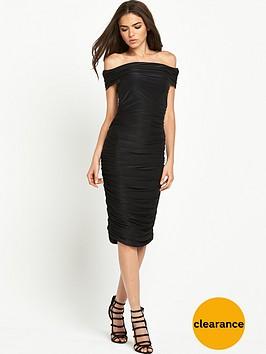 ax-paris-ruched-bardot-midi-dress-black