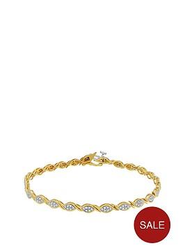 love-diamond-sterlingnbspsilver-gold-plated-10-point-diamond-twist-bracelet