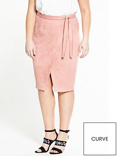lovedrobe-suedette-wrap-skirt-dusty-pink
