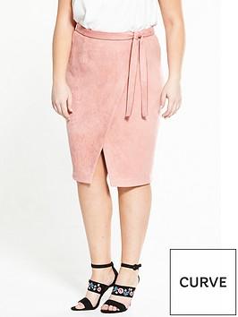 lovedrobe-suedette-wrap-skirt-dusty-pink