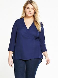 lovedrobe-wrap-round-dip-back-blouse-navy
