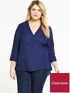 lovedrobe-wrap-round-dip-back-blouse-navy