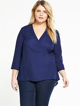 Lovedrobe Wrap Round Dip Back Blouse - Navy