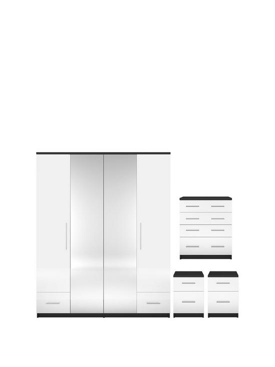 Cologne Gloss 4 Piece Package 4 Door 2 Drawer Mirrored Wardrobe