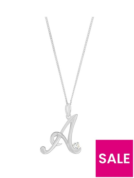 the-love-silver-collection-sterling-silver-cubic-zirconia-initial-pendant