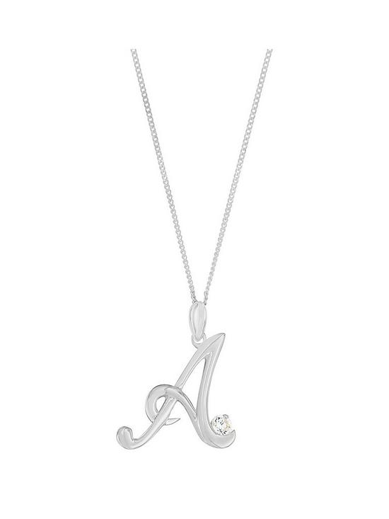 The love silver collection sterling silver cubic zirconia initial the love silver collection sterling silver cubic zirconia initial pendant very mozeypictures Image collections