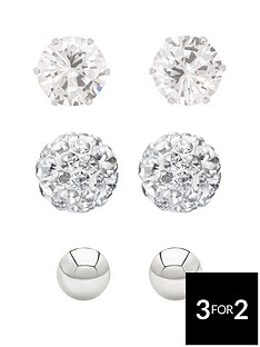 love-silver-sterling-silver-4mmnbsppolished-ball-5mm-cz-stud-and-6mmnbspcrystal-ball-earring-set