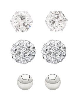 the-love-silver-collection-sterling-silver-4mmnbsppolished-ball-5mm-cz-stud-and-6mmnbspcrystal-ball-earring-set