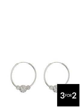 love-silver-sterling-silver-lightweight-25mm-hoops-with-triple-crystal-glitter-balls