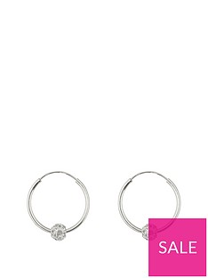 the-love-silver-collection-sterling-silver-lightweight-16mmnbsphoops-with-crystal-glitter-ball