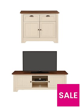 devon-2-piece-package-compact-sideboard-and-tv-unit-ivorywalnut-buy-and-save