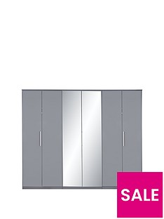 Prague Gloss 6 Door Mirrored Wardrobe