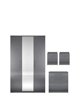 Prague Gloss 4-Piece Package - 3 Door Wardrobe, 4 Drawer Chest And 2 Bedside Cabinets thumbnail