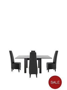 80-160-cm-gloss-square-to-rectangle-table-4-manhattan-dining-chairs-buy-and-save