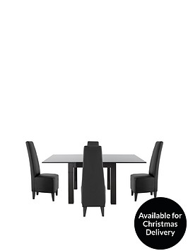gloss-square-to-rectangle-80-160-cm-extending-dining-table-4-manhattan-chairs