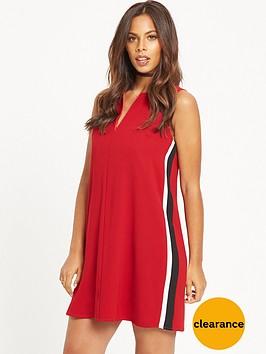 rochelle-humes-sport-side-stripe-shift-dress-red
