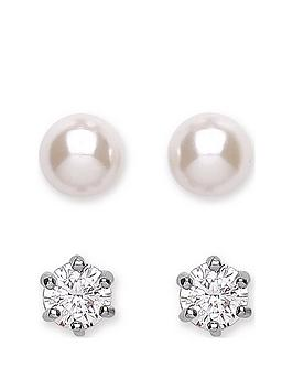 buckley-london-rhodium-2nbsppack-of-pearl-and-cubic-zirconianbspearrings-christmas-bauble
