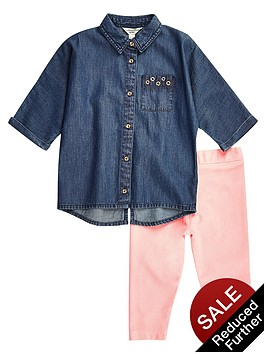 river-island-mini-girls-denim-shirt-and-pink-leggings-set