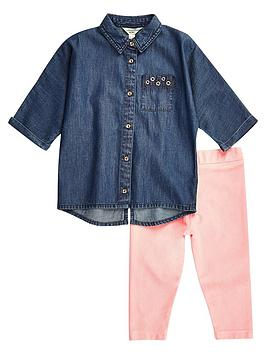 river-island-mini-mini-girls-denim-shirt-pink-leggings-set