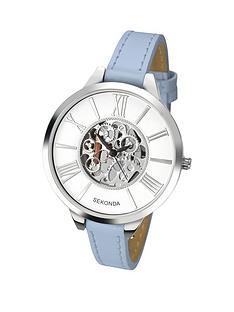 sekonda-skeleton-dial-blue-leather-strap-ladies-watch