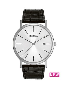bulova-bulova-silver-tone-dial-black-leather-strap-mens-watch
