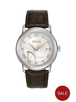 citizen-citizen-eco-drive-power-reserve-silver-tone-dial-brown-leather-strap-mens-watch