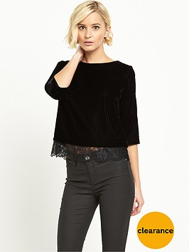 river-island-short-sleeve-velvet-lace-hem-top