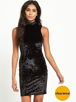 miss-selfridge-petite-velvet-high-neck-bodycon-dress-black