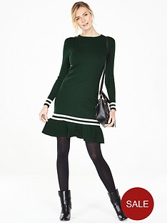 v-by-very-crew-neck-mini-cable-peplum-hem-dress