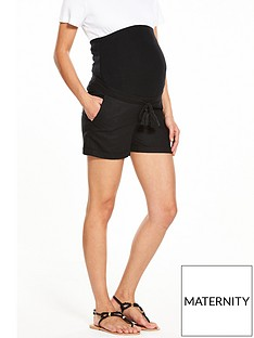 v-by-very-maternity-linen-mix-shorts