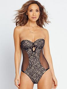 myleene-klass-underwired-lace-and-mesh-swimsuit-blacknude