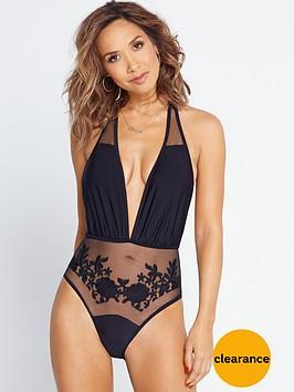 myleene-klass-mesh-floral-plunge-swimsuit-black