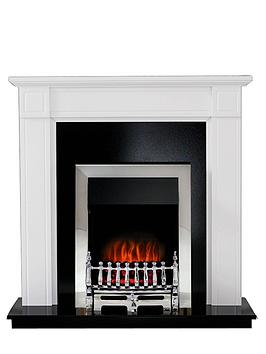 Adam Fires & Fireplaces Georgian White Electric Fireplace Suite With Chrome Inset Fire