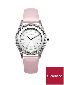 oasis-stone-set-bezel-pink-pu-strap-ladies-watch