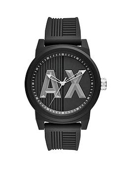 designer mens watches gifts jewellery very co uk armani exchange black ax dial black silicone strap mens watch
