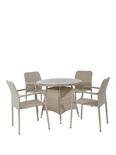 bolivia rattan round glass dining table and 4 steel chairs