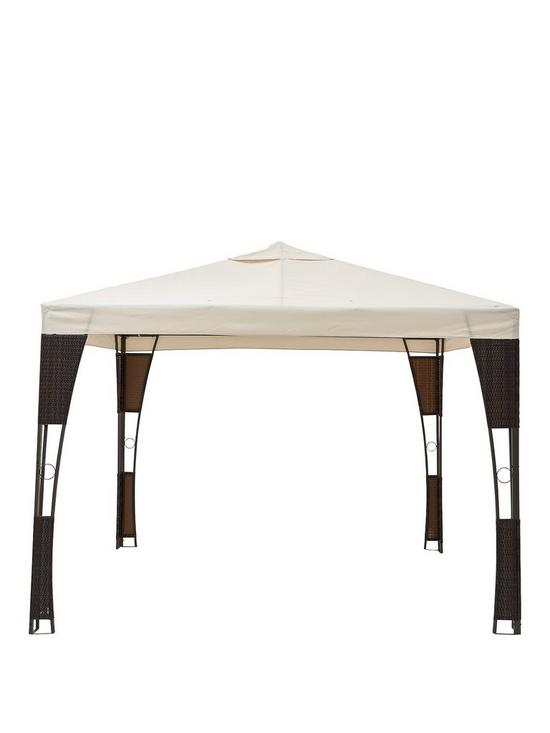 3X3M Steel Rattan Gazebo With Polyester Roof