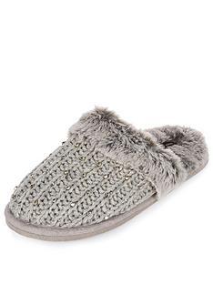 river-island-grey-knit-closed-toe-mule-slipper