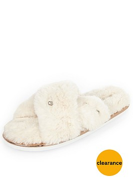 river-island-cream-cross-over-mule-slippers
