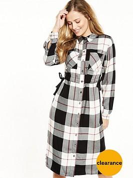 v-by-very-side-tie-check-shirt-dress